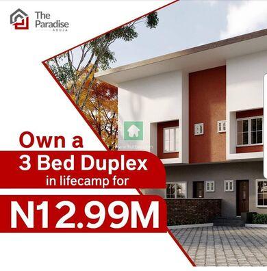 3 BEDROOM LUXURY DUPLEX FOR 12.99 AT  LIFECAMP LOCATION, Katampe, Abuja